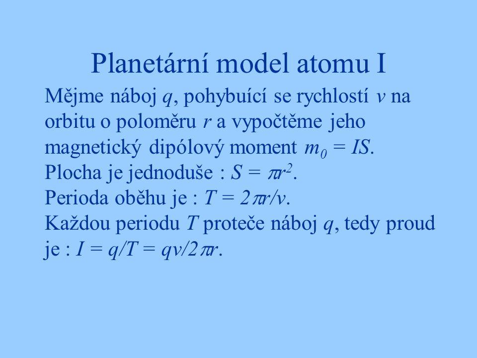 Planetární model atomu I Mějme náboj q, pohybuící se rychlostí v na orbitu o poloměru r a vypočtěme jeho magnetický dipólový moment m 0 = IS. Plocha j