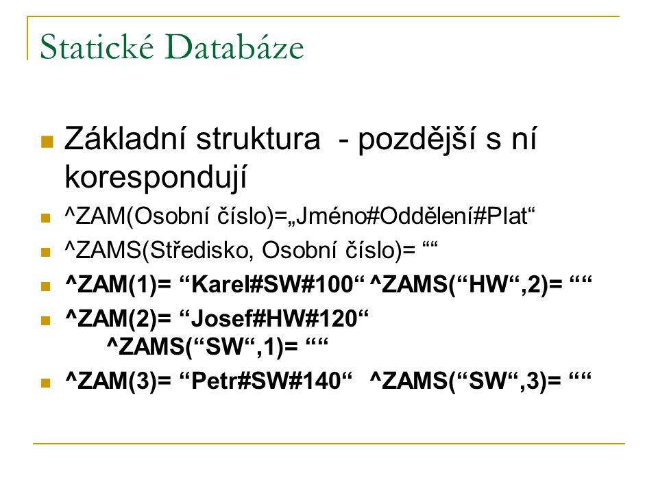 """Statické Databáze Základní struktura - pozdější s ní korespondují ^ZAM(Osobní číslo)=""""Jméno#Oddělení#Plat"""" ^ZAMS(Středisko, Osobní číslo)= """""""" ^ZAM(1)="""