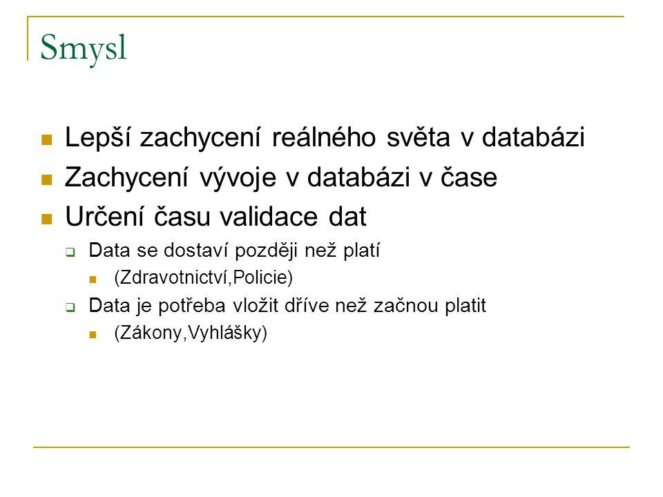Smysl Lepší zachycení reálného světa v databázi Zachycení vývoje v databázi v čase Určení času validace dat  Data se dostaví později než platí (Zdrav