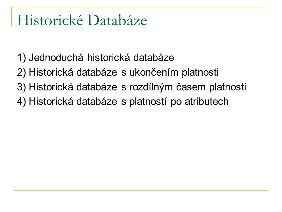 Historické Databáze 1) Jednoduchá historická databáze 2) Historická databáze s ukončením platnosti 3) Historická databáze s rozdílným časem platnosti
