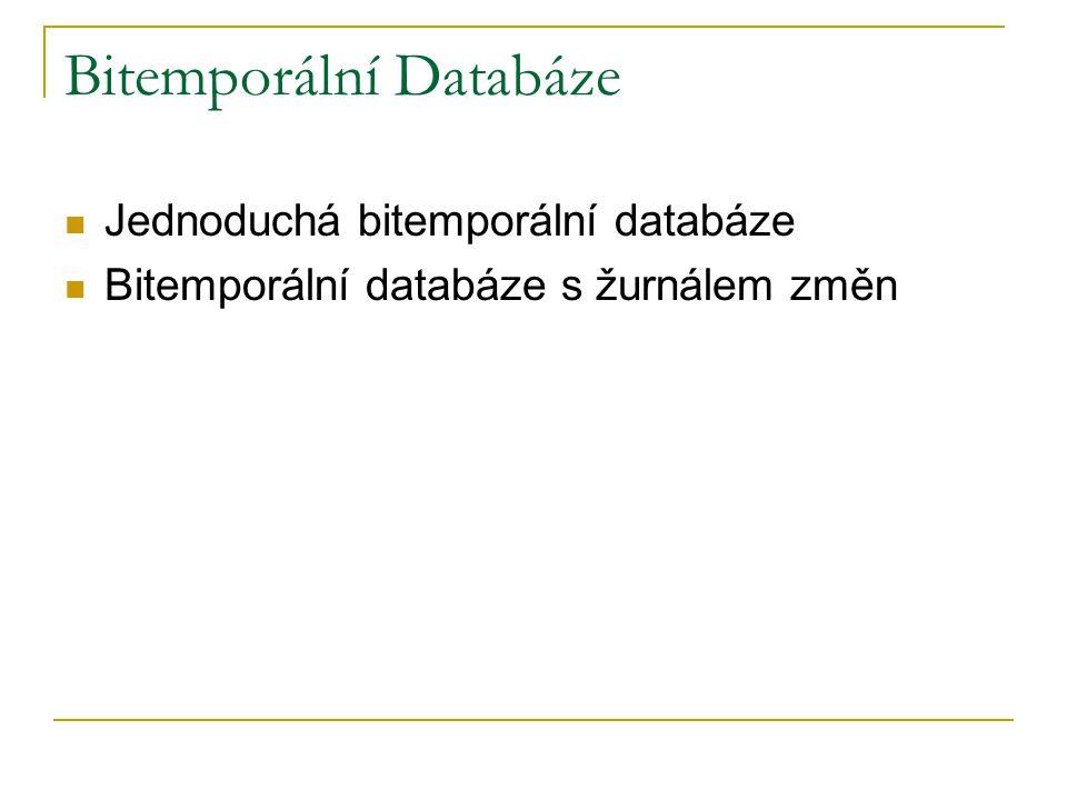 Bitemporální Databáze Jednoduchá bitemporální databáze Bitemporální databáze s žurnálem změn
