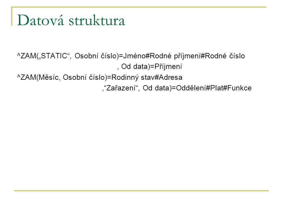 """Datová struktura ^ZAM(""""STATIC"""", Osobní číslo)=Jméno#Rodné příjmení#Rodné číslo, Od data)=Příjmení ^ZAM(Měsíc, Osobní číslo)=Rodinný stav#Adresa,""""Zařaz"""