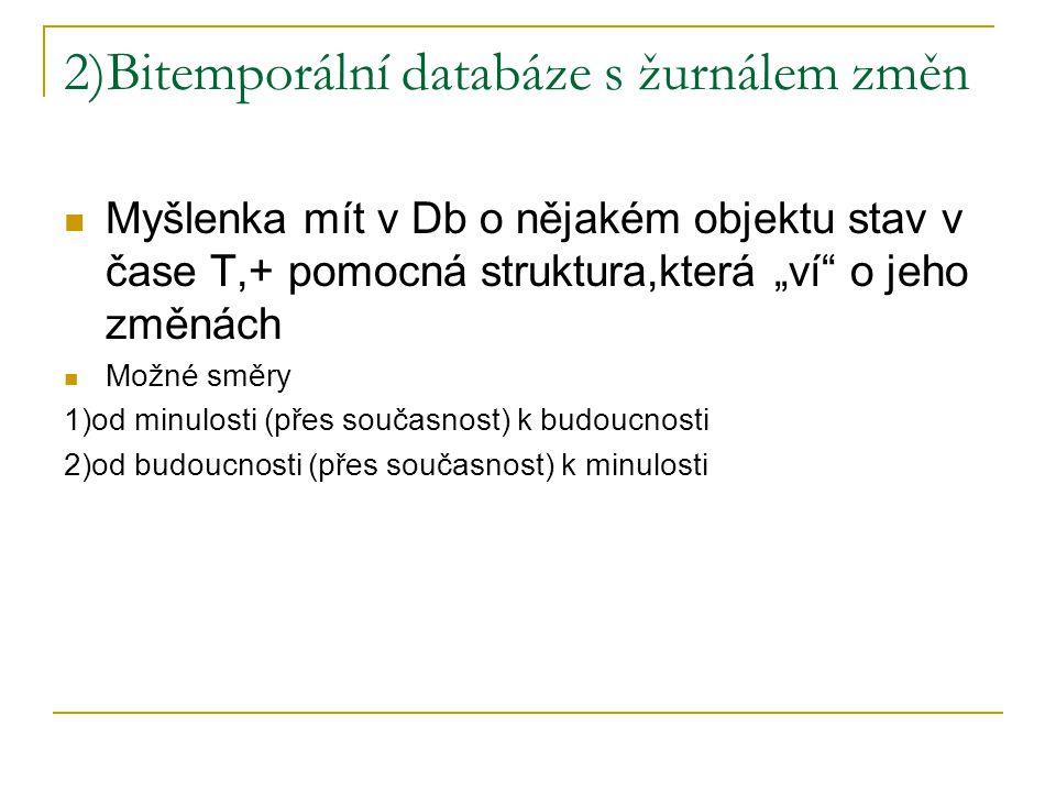 """2)Bitemporální databáze s žurnálem změn Myšlenka mít v Db o nějakém objektu stav v čase T,+ pomocná struktura,která """"ví"""" o jeho změnách Možné směry 1)"""