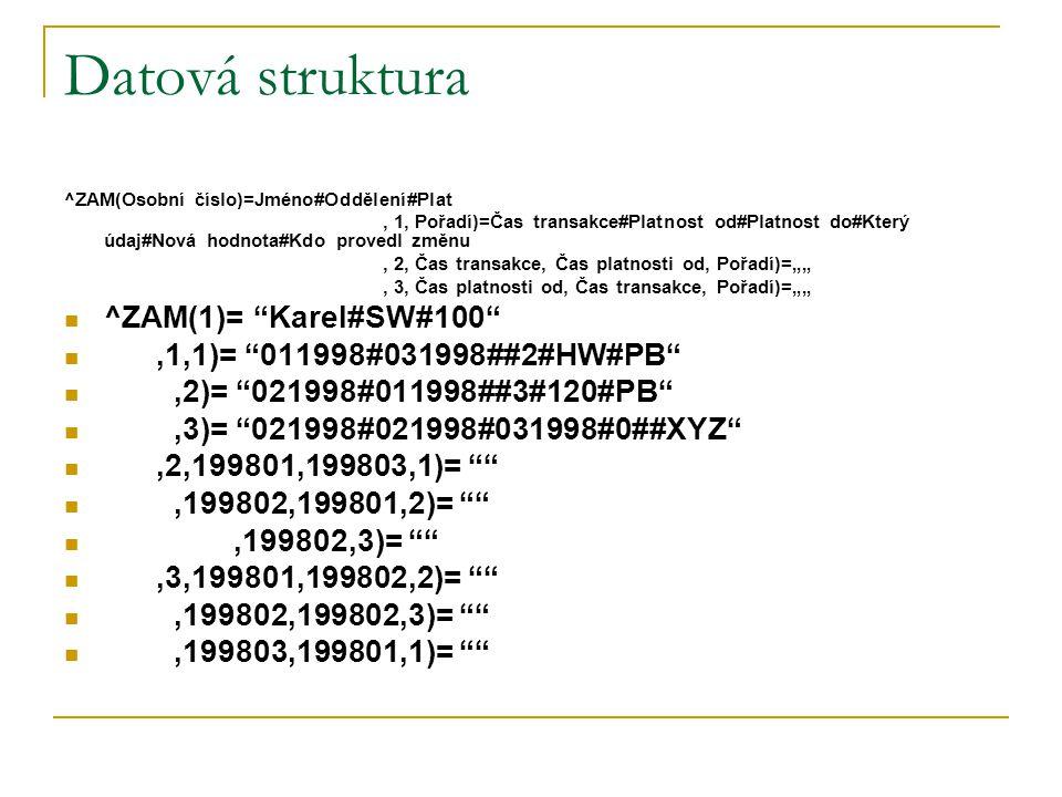Datová struktura ^ZAM(Osobní číslo)=Jméno#Oddělení#Plat, 1, Pořadí)=Čas transakce#Platnost od#Platnost do#Který údaj#Nová hodnota#Kdo provedl změnu, 2
