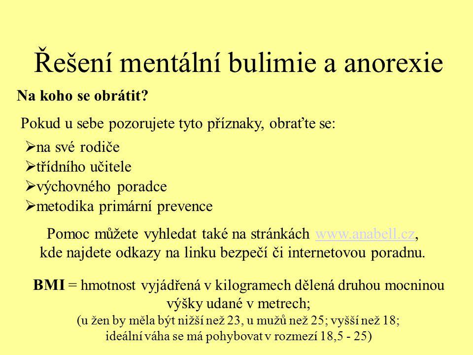 Řešení mentální bulimie a anorexie Pomoc můžete vyhledat také na stránkách www.anabell.cz, kde najdete odkazy na linku bezpečí či internetovou poradnu