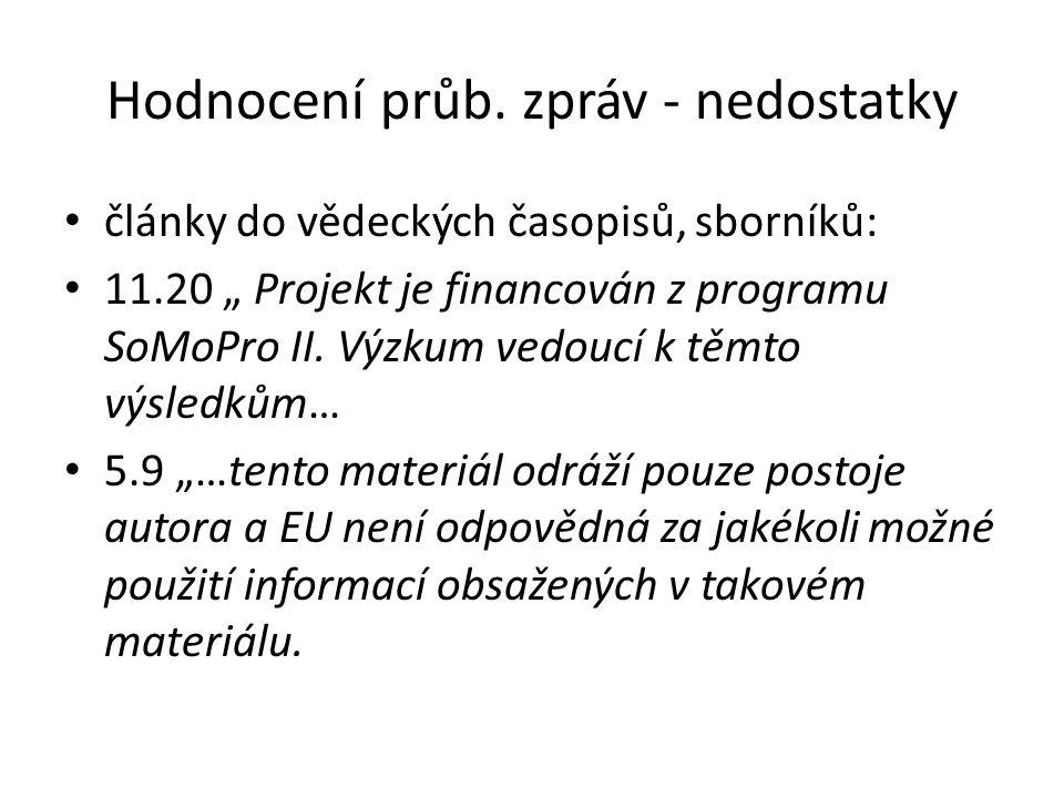 """Hodnocení průb. zpráv - nedostatky články do vědeckých časopisů, sborníků: 11.20 """" Projekt je financován z programu SoMoPro II. Výzkum vedoucí k těmto"""
