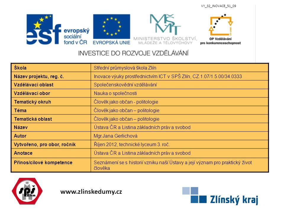 www.zlinskedumy.cz VY_32_INOVACE_51_09 ŠkolaStřední průmyslová škola Zlín Název projektu, reg. č.Inovace výuky prostřednictvím ICT v SPŠ Zlín, CZ.1.07