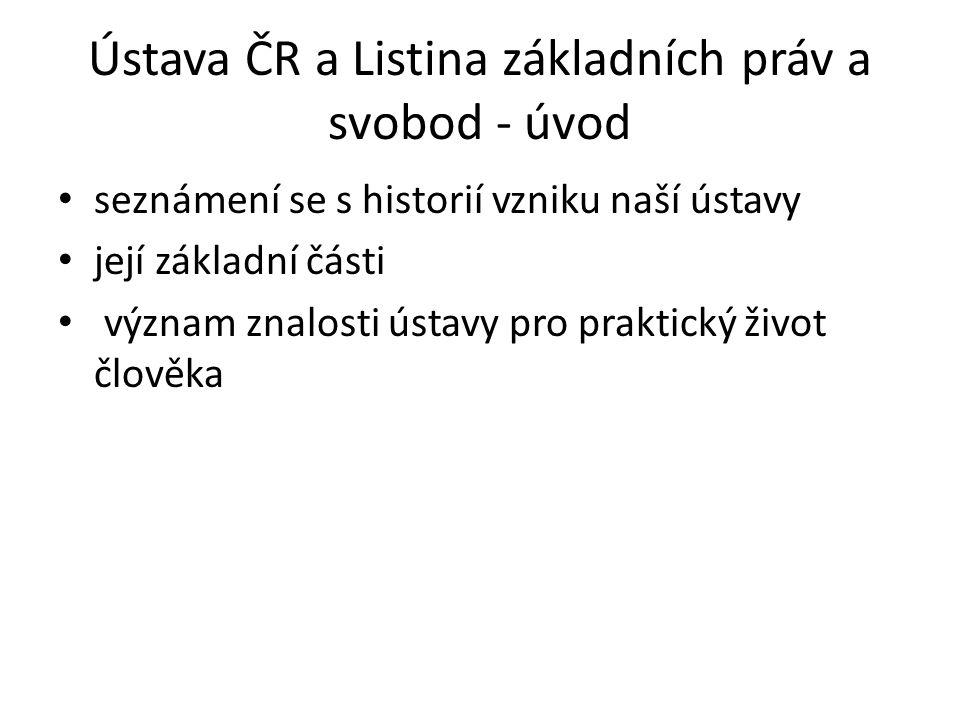 Ústava ČR a Listina základních práv a svobod - úvod seznámení se s historií vzniku naší ústavy její základní části význam znalosti ústavy pro praktick