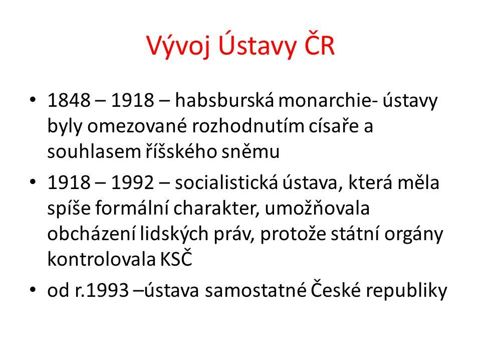 Vývoj Ústavy ČR 1848 – 1918 – habsburská monarchie- ústavy byly omezované rozhodnutím císaře a souhlasem říšského sněmu 1918 – 1992 – socialistická ús