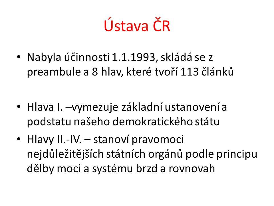 Ústava ČR Nabyla účinnosti 1.1.1993, skládá se z preambule a 8 hlav, které tvoří 113 článků Hlava I. –vymezuje základní ustanovení a podstatu našeho d