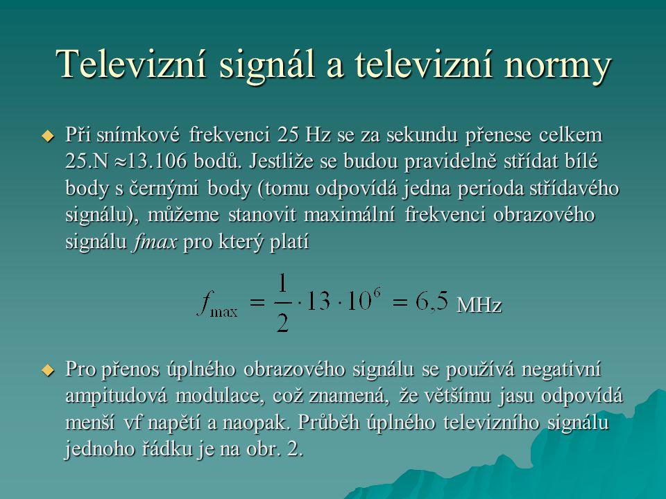 Televizní signál a televizní normy  Při snímkové frekvenci 25 Hz se za sekundu přenese celkem 25.N  13.106 bodů. Jestliže se budou pravidelně střída
