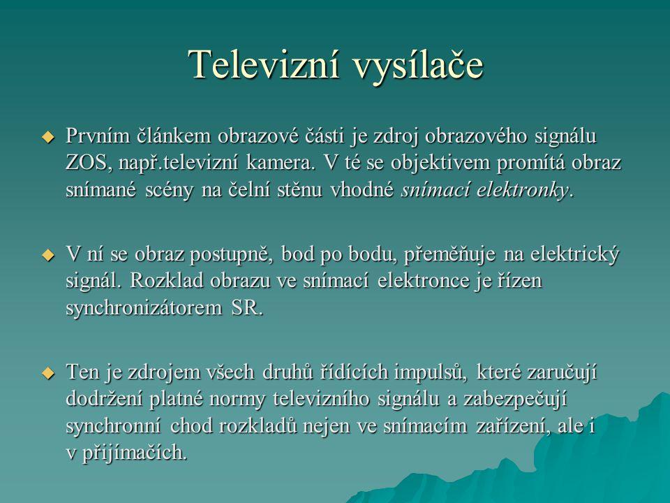 Televizní vysílače  Prvním článkem obrazové části je zdroj obrazového signálu ZOS, např.televizní kamera. V té se objektivem promítá obraz snímané sc