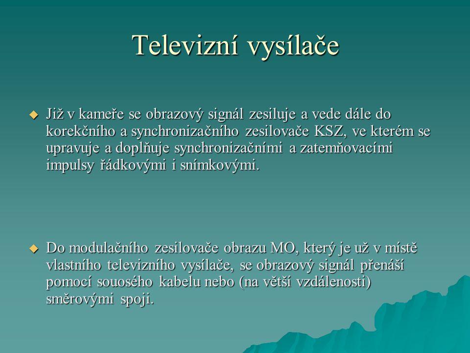 Televizní vysílače  Již v kameře se obrazový signál zesiluje a vede dále do korekčního a synchronizačního zesilovače KSZ, ve kterém se upravuje a dop