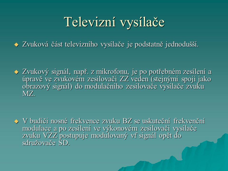 Televizní vysílače  Zvuková část televizního vysílače je podstatně jednodušší.  Zvukový signál, např. z mikrofonu, je po potřebném zesílení a úpravě