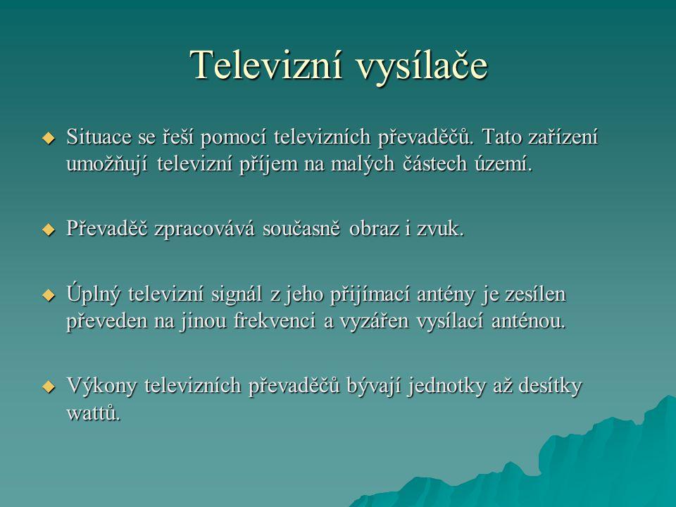 Televizní vysílače  Situace se řeší pomocí televizních převaděčů. Tato zařízení umožňují televizní příjem na malých částech území.  Převaděč zpracov
