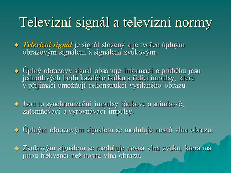 Televizní signál a televizní normy  Televizní signál je signál složený a je tvořen úplným obrazovým signálem a signálem zvukovým.  Úplný obrazový si