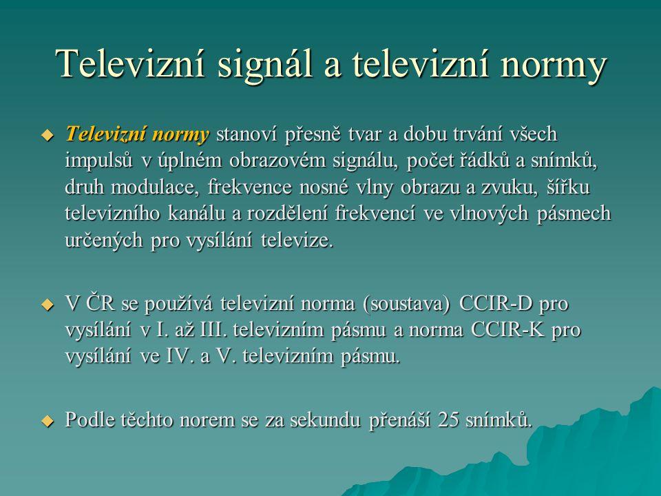 Televizní signál a televizní normy  Televizní normy stanoví přesně tvar a dobu trvání všech impulsů v úplném obrazovém signálu, počet řádků a snímků,