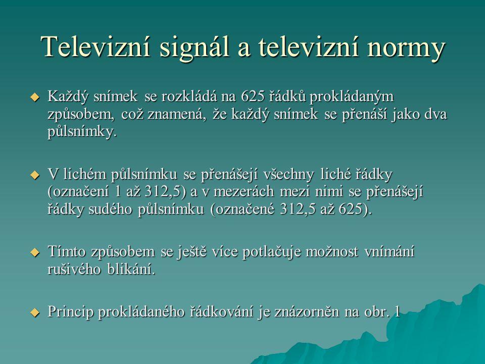 Televizní signál a televizní normy  Každý snímek se rozkládá na 625 řádků prokládaným způsobem, což znamená, že každý snímek se přenáší jako dva půls