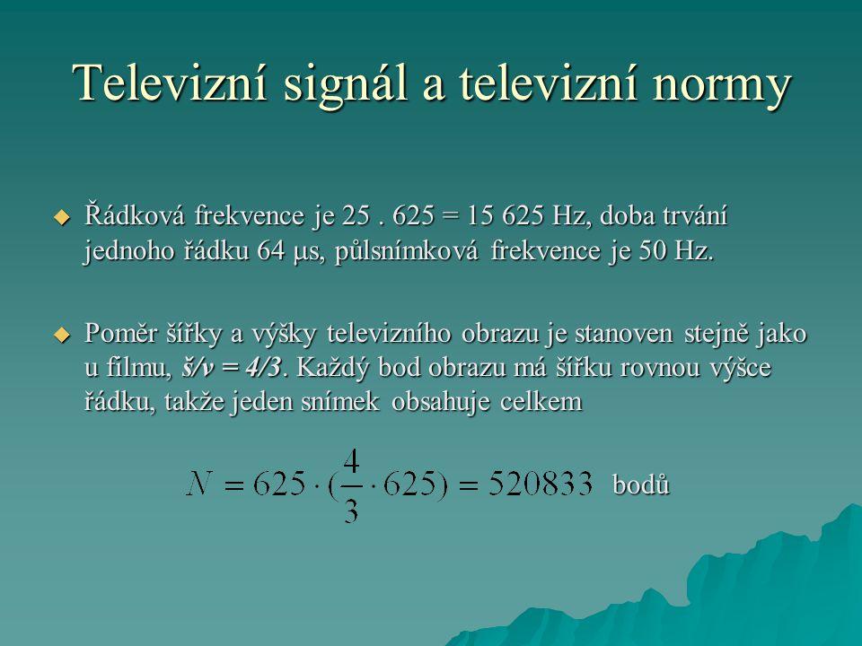 Televizní signál a televizní normy  Řádková frekvence je 25. 625 = 15 625 Hz, doba trvání jednoho řádku 64  s, půlsnímková frekvence je 50 Hz.  Pom