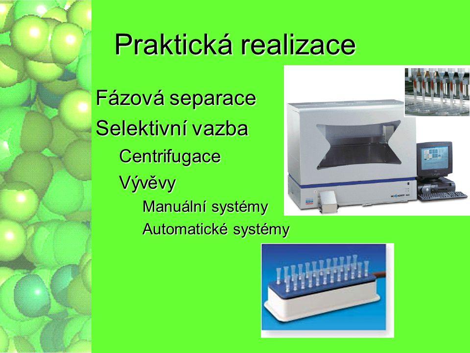 Praktická realizace Fázová separace Selektivní vazba CentrifugaceVývěvy Manuální systémy Automatické systémy