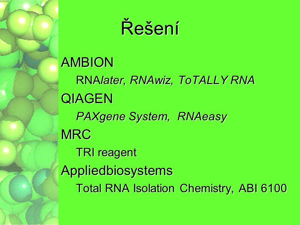 Řešení AMBION RNAlater, RNAwiz, ToTALLY RNA QIAGEN PAXgene System, RNAeasy MRC TRI reagent Appliedbiosystems Total RNA Isolation Chemistry, ABI 6100
