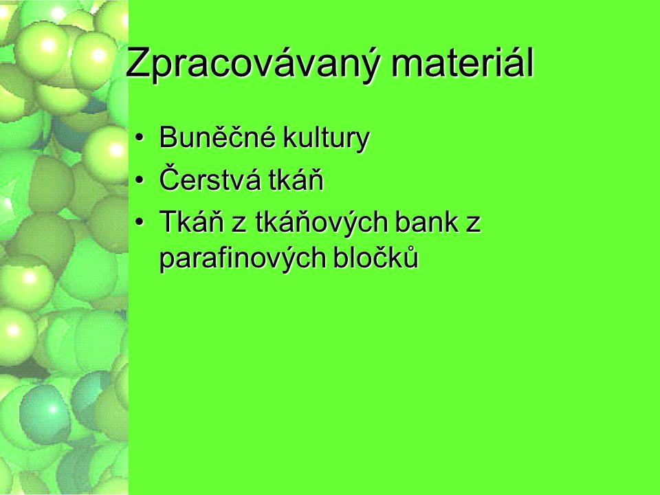 Zpracovávaný materiál Buněčné kulturyBuněčné kultury Čerstvá tkáňČerstvá tkáň Tkáň z tkáňových bank z parafinových bločkůTkáň z tkáňových bank z paraf