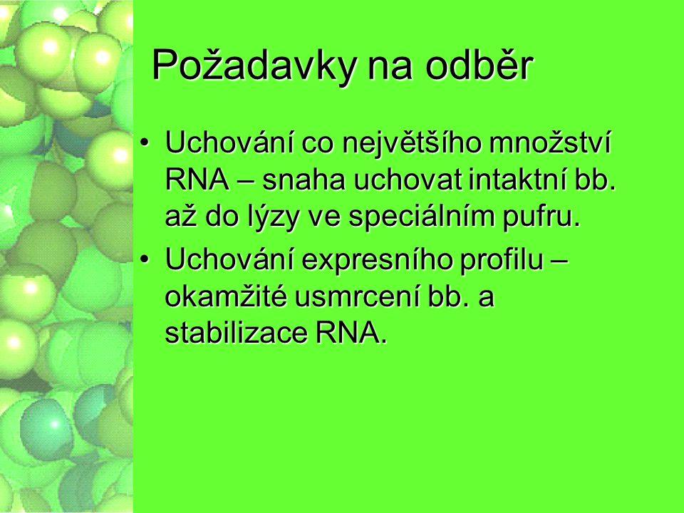 Postup práce Odběr, transport, stabilizaceOdběr, transport, stabilizace Odběr,stabilizace, transportOdběr,stabilizace, transport LýzaLýza HomogenizaceHomogenizace Izolace RNAIzolace RNA Stabilizace (-80 nebo liqN 2 )Stabilizace (-80 nebo liqN 2 ) Reverzní transkripce + real-time PCRReverzní transkripce + real-time PCR