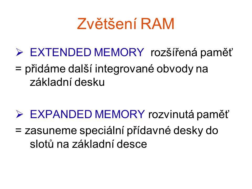 Zvětšení RAM EEXTENDED MEMORY rozšířená paměť = přidáme další integrované obvody na základní desku EEXPANDED MEMORY rozvinutá paměť = zasuneme speciální přídavné desky do slotů na základní desce