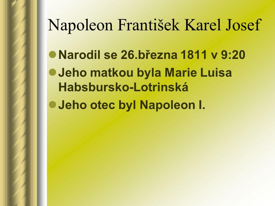 Napoleon František Karel Josef Narodil se 26.března 1811 v 9:20 Jeho matkou byla Marie Luisa Habsbursko-Lotrinská Jeho otec byl Napoleon I.