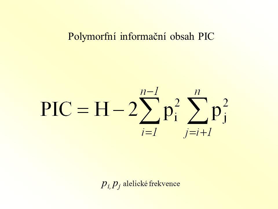 Polymorfní informační obsah PIC p i, p j alelické frekvence