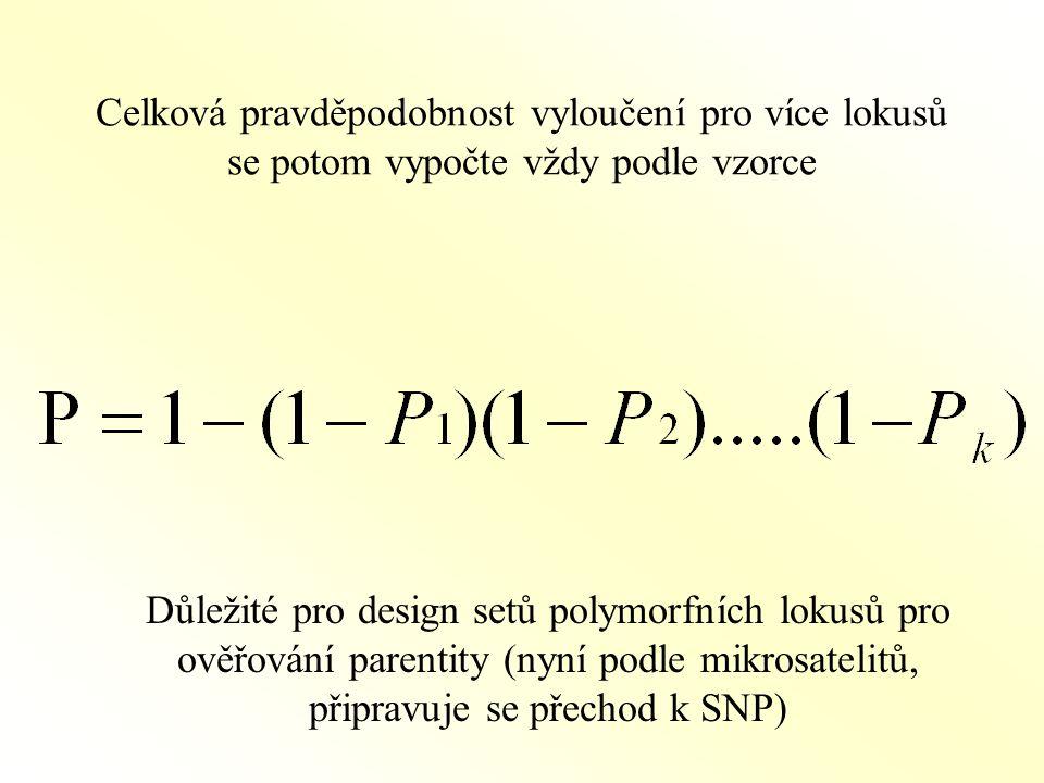 Celková pravděpodobnost vyloučení pro více lokusů se potom vypočte vždy podle vzorce Důležité pro design setů polymorfních lokusů pro ověřování parentity (nyní podle mikrosatelitů, připravuje se přechod k SNP)