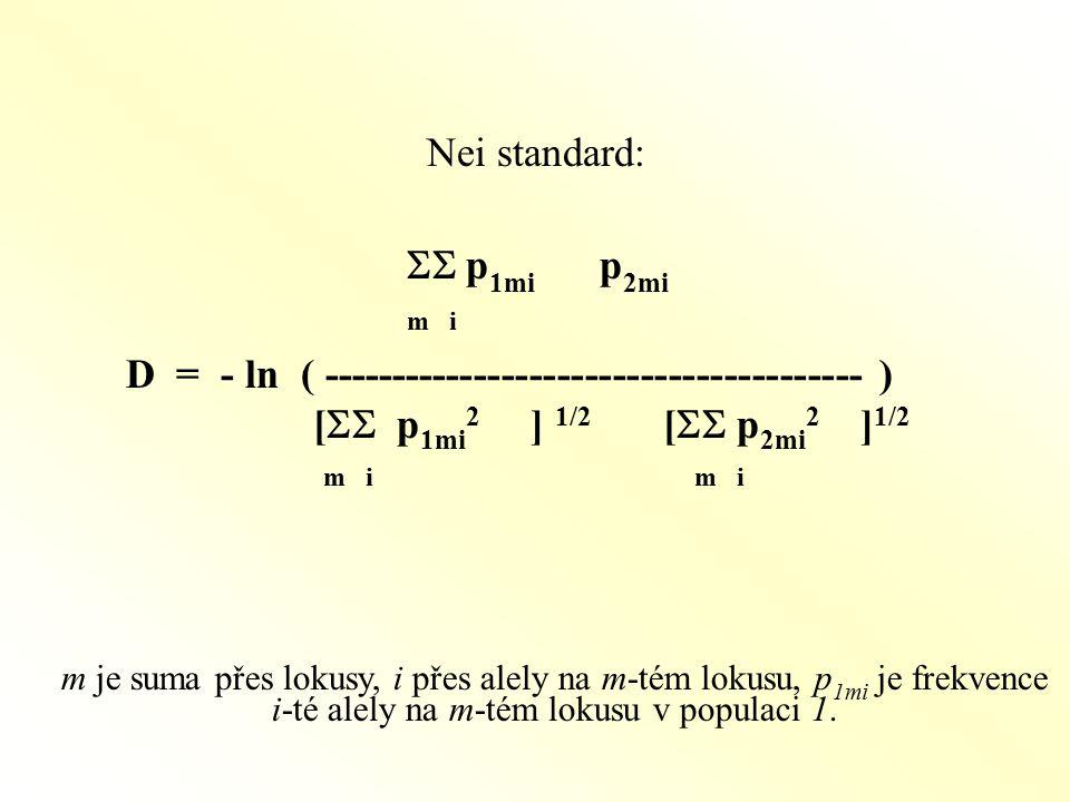 Nei standard:  p 1mi p 2mi m i D = - ln ( --------------------------------------- ) [  p 1mi 2 ] 1/2 [  p 2mi 2 ] 1/2 m i m i m je suma přes lokusy, i přes alely na m-tém lokusu, p 1mi je frekvence i-té alely na m-tém lokusu v populaci 1.