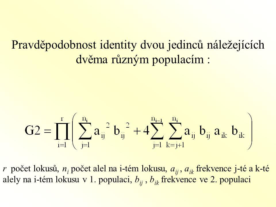 Pravděpodobnost identity dvou jedinců náležejících dvěma různým populacím : r počet lokusů, n i počet alel na i-tém lokusu, a ij, a ik frekvence j-té a k-té alely na i-tém lokusu v 1.