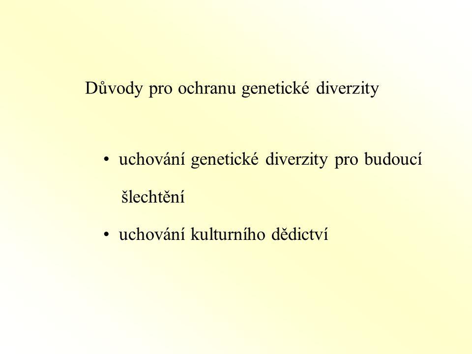 Důvody pro ochranu genetické diverzity uchování genetické diverzity pro budoucí šlechtění uchování kulturního dědictví