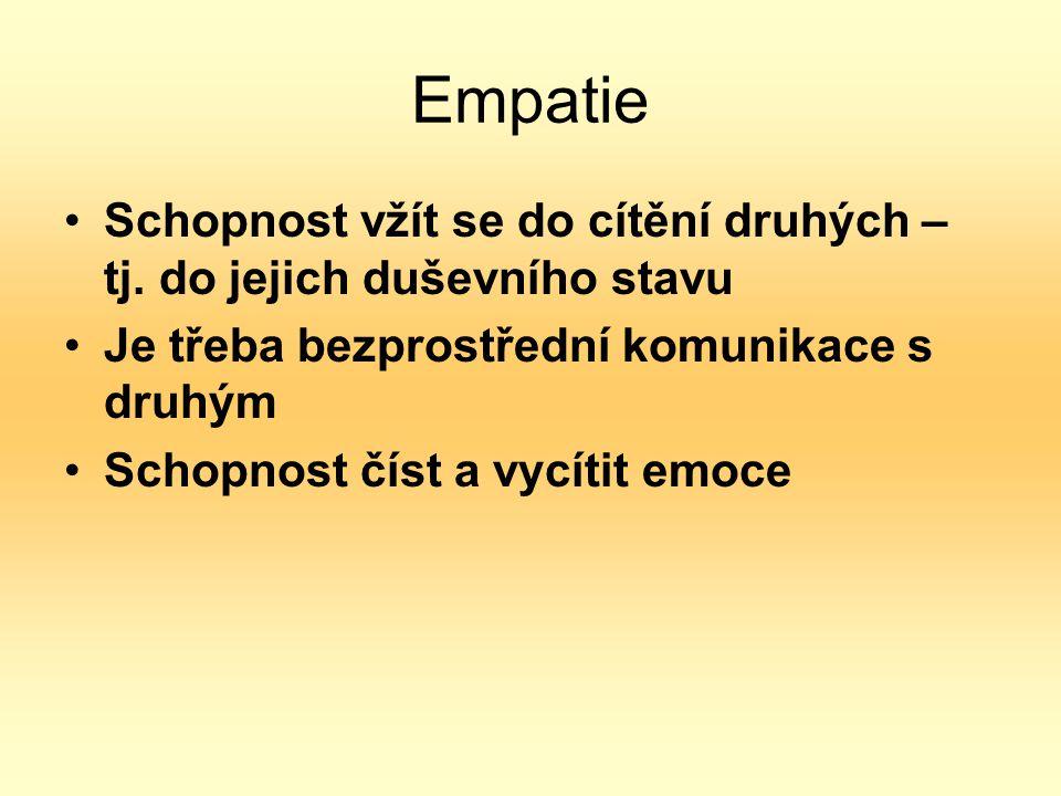Empatie Schopnost vžít se do cítění druhých – tj.