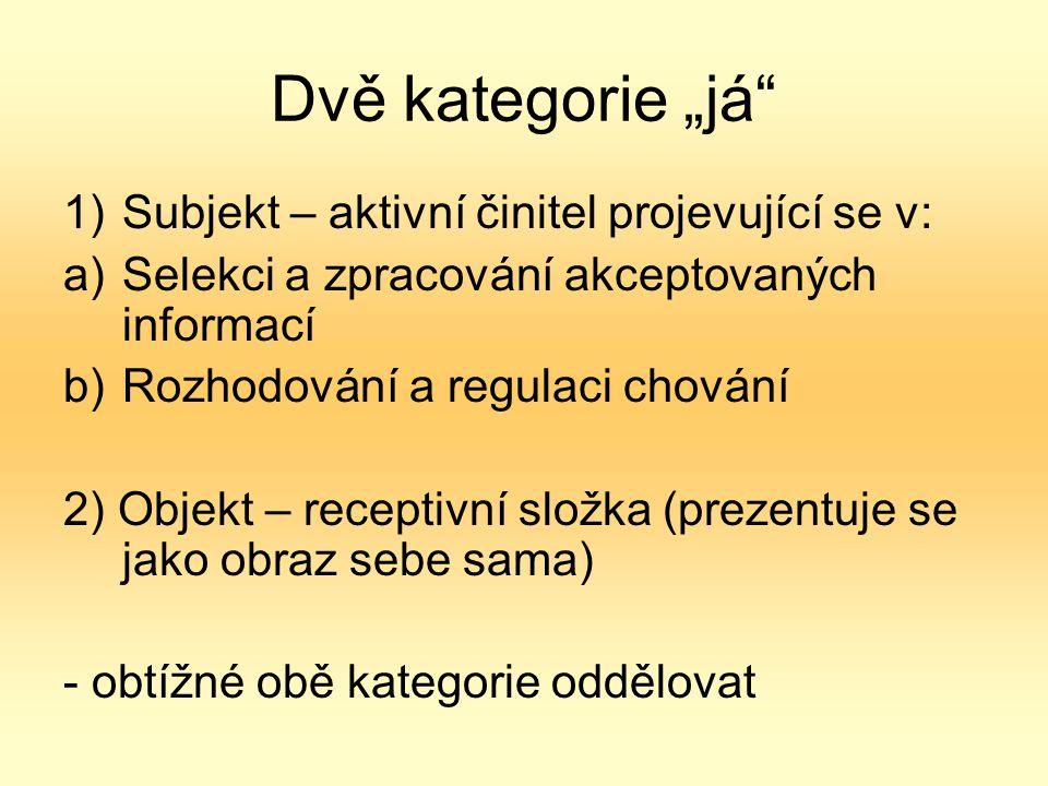 """Dvě kategorie """"já 1)Subjekt – aktivní činitel projevující se v: a)Selekci a zpracování akceptovaných informací b)Rozhodování a regulaci chování 2) Objekt – receptivní složka (prezentuje se jako obraz sebe sama) - obtížné obě kategorie oddělovat"""