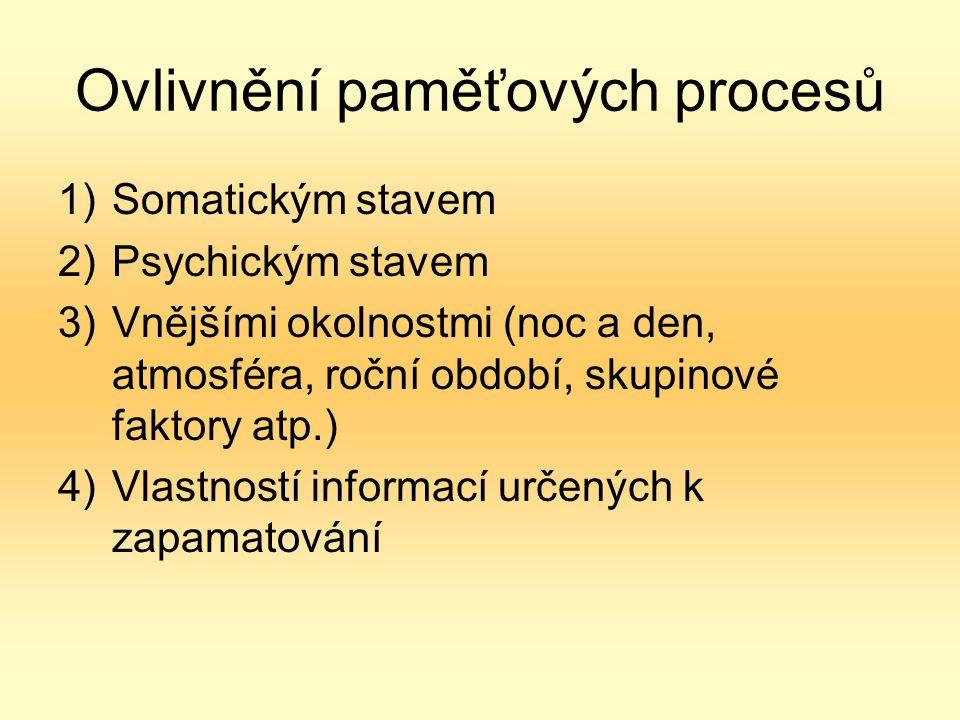 Ovlivnění paměťových procesů 1)Somatickým stavem 2)Psychickým stavem 3)Vnějšími okolnostmi (noc a den, atmosféra, roční období, skupinové faktory atp.) 4)Vlastností informací určených k zapamatování
