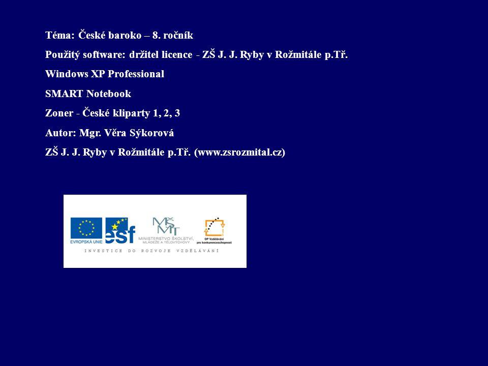 Bohuslav Balbín (1621-1688) - člen jezuitského řádu (postavil se ale na obranu češtiny, věnoval se i českým kulturním dějinám) - také básník a dramatik - psal latinsky - vůdčí postava pobělohorského literárního dění v Čechách Dílo: Obrana jazyka slovanského, zvláště pak českého - vyjadřuje moderní myšlenku práva národa na vlastní jazyk - obhajuje češtinu jako kultivovaný jazyk využitelný ve všech oblastech písemnictví - napsal toto dílo anonymně (ostře kritizuje odnárodňující se šlechtu a odsuzuje národnostní politiku vídeňského dvora, který vytlačuje češtinu z veřejného života