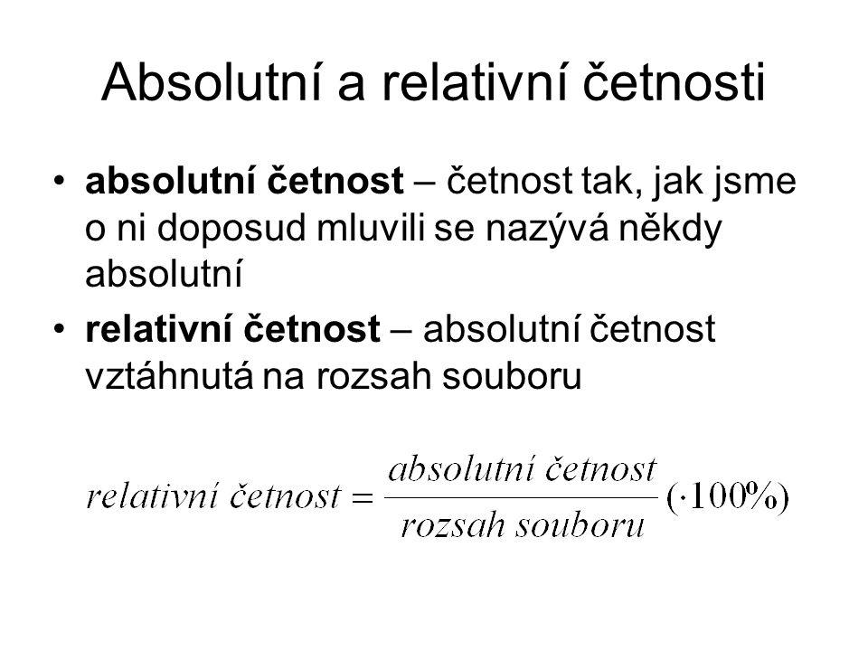 Absolutní a relativní četnosti absolutní četnost – četnost tak, jak jsme o ni doposud mluvili se nazývá někdy absolutní relativní četnost – absolutní