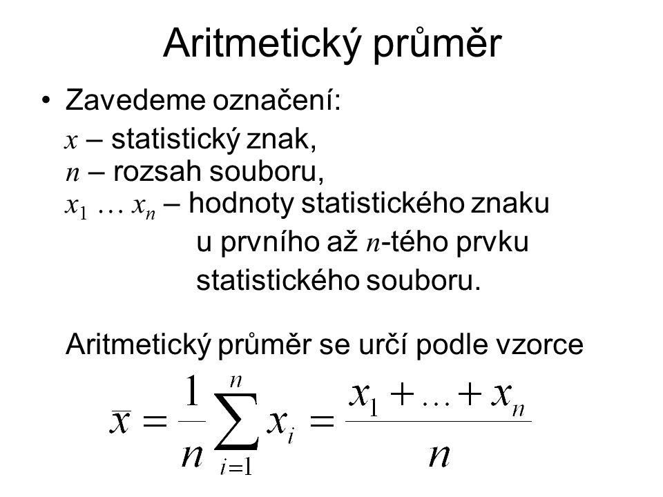 Aritmetický průměr Zavedeme označení: x – statistický znak, n – rozsah souboru, x 1 … x n – hodnoty statistického znaku u prvního až n -tého prvku sta