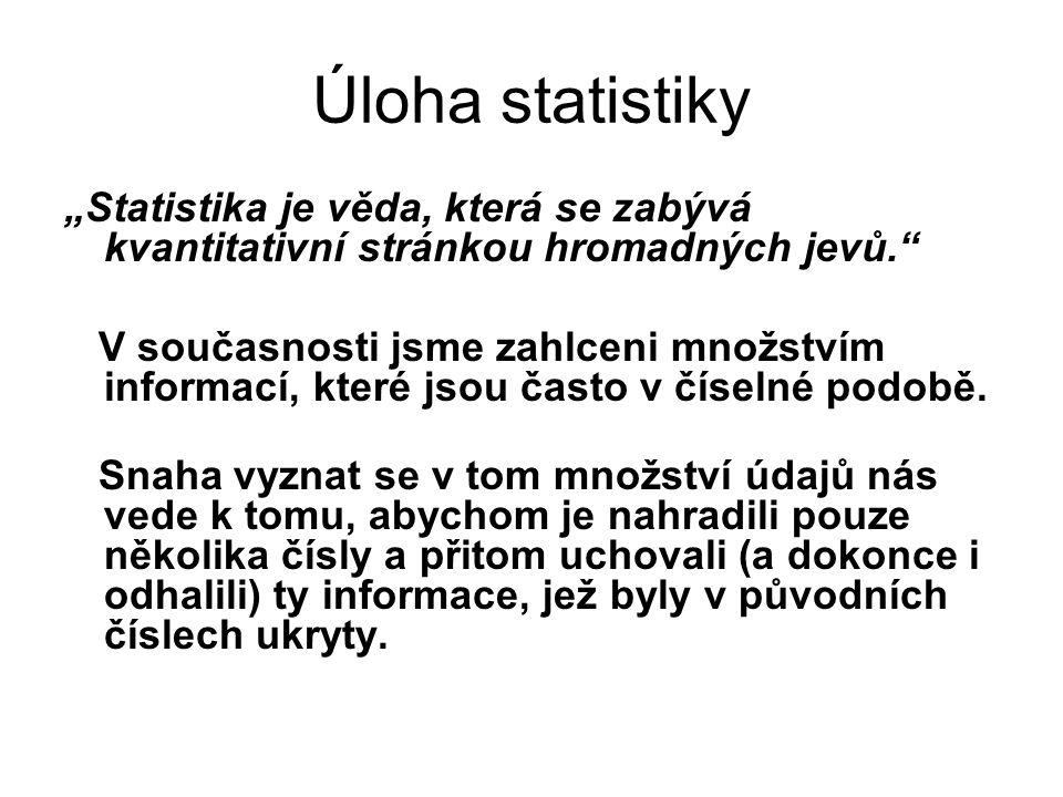 """Úloha statistiky """"Statistika je věda, která se zabývá kvantitativní stránkou hromadných jevů."""" V současnosti jsme zahlceni množstvím informací, které"""