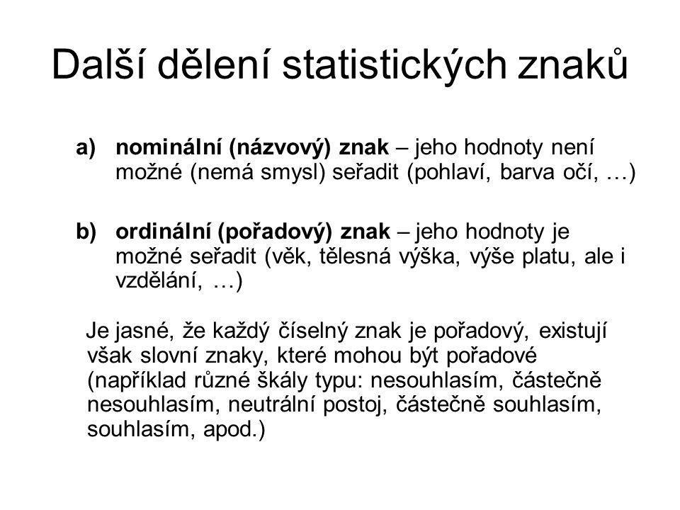 Další dělení statistických znaků a)nominální (názvový) znak – jeho hodnoty není možné (nemá smysl) seřadit (pohlaví, barva očí, …) b)ordinální (pořado