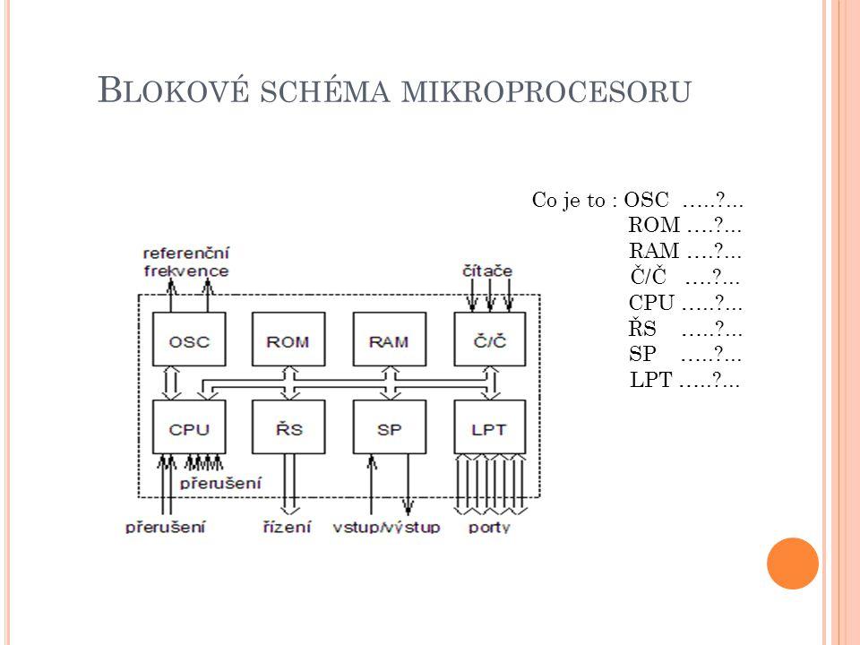B LOKOVÉ SCHÉMA MIKROPROCESORU Co je to : OSC …..?... ROM ….?... RAM ….?... Č/Č ….?... CPU …..?... ŘS …..?... SP …..?... LPT …..?...