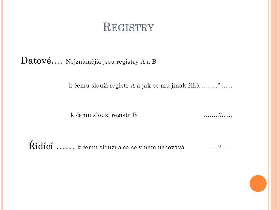 R EGISTRY Datové…. Nejznámější jsou registry A a B k čemu slouží registr A a jak se mu jinak říká ……..?....... k čemu slouží registr B ……..?...... Říd