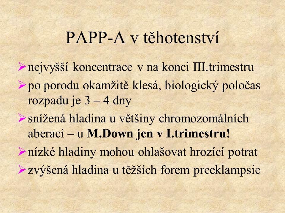 PAPP-A v těhotenství  nejvyšší koncentrace v na konci III.trimestru  po porodu okamžitě klesá, biologický poločas rozpadu je 3 – 4 dny  snížená hladina u většiny chromozomálních aberací – u M.Down jen v I.trimestru.