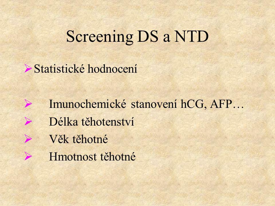 Screening DS a NTD  Statistické hodnocení  Imunochemické stanovení hCG, AFP…  Délka těhotenství  Věk těhotné  Hmotnost těhotné