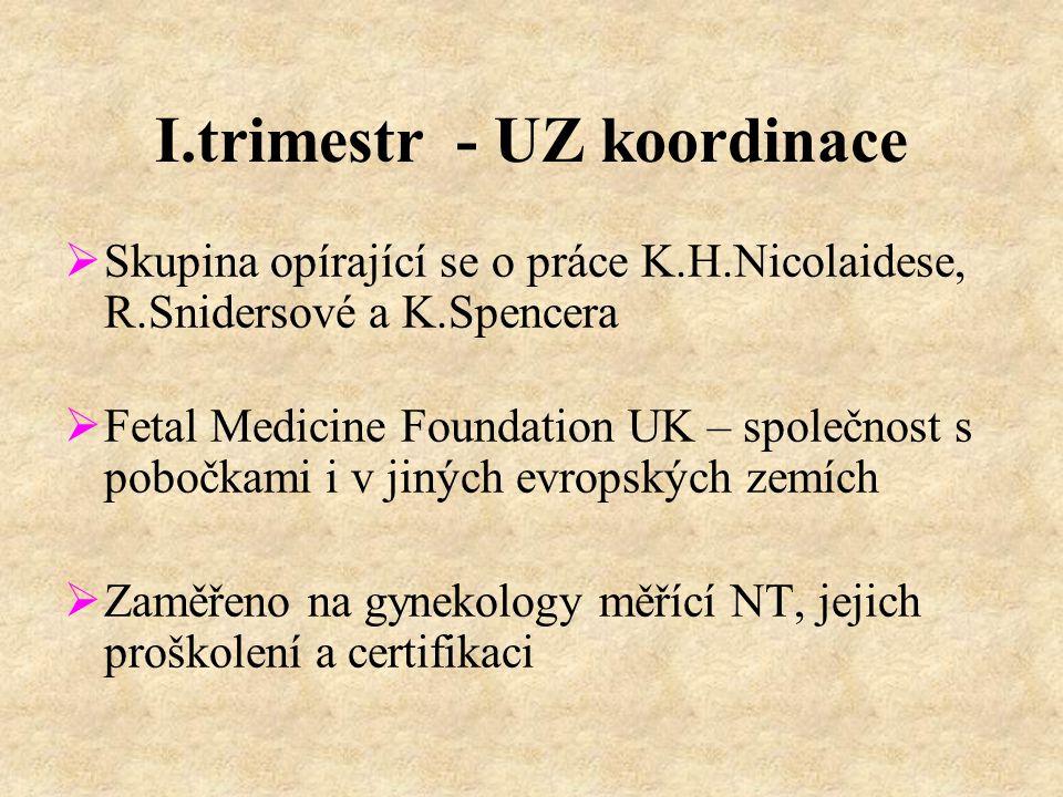 I.trimestr - UZ koordinace  Skupina opírající se o práce K.H.Nicolaidese, R.Snidersové a K.Spencera  Fetal Medicine Foundation UK – společnost s pobočkami i v jiných evropských zemích  Zaměřeno na gynekology měřící NT, jejich proškolení a certifikaci