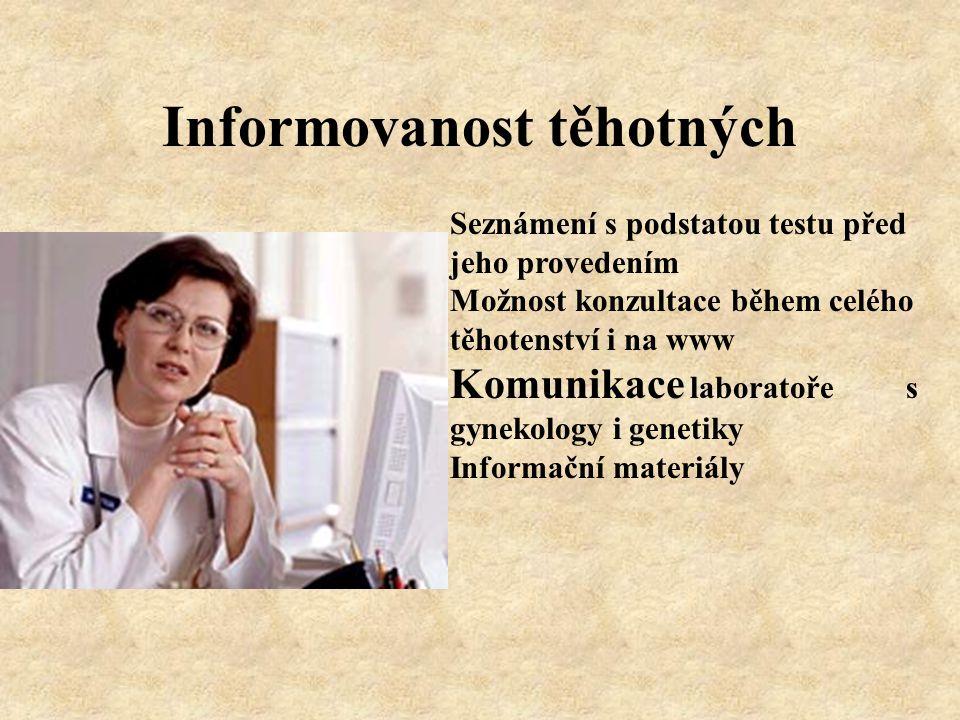 Informovanost těhotných Seznámení s podstatou testu před jeho provedením Možnost konzultace během celého těhotenství i na www Komunikace laboratoře s gynekology i genetiky Informační materiály