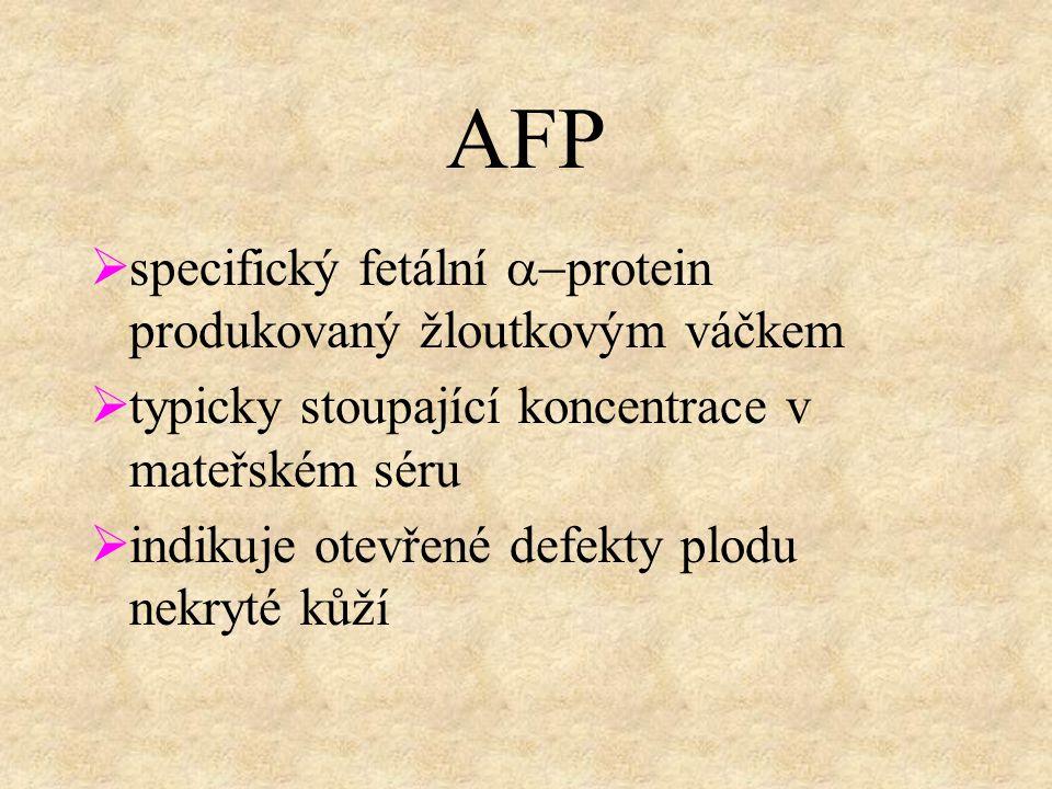 AFP  specifický fetální  protein produkovaný žloutkovým váčkem  typicky stoupající koncentrace v mateřském séru  indikuje otevřené defekty plodu nekryté kůží