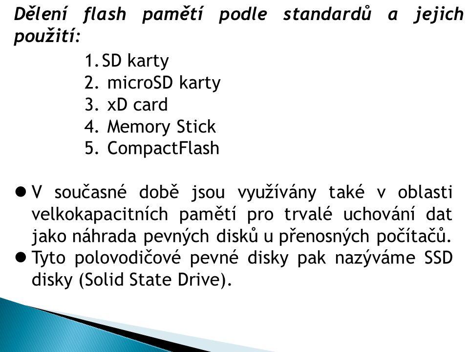 1.SD karty 2. microSD karty 3. xD card 4. Memory Stick 5.
